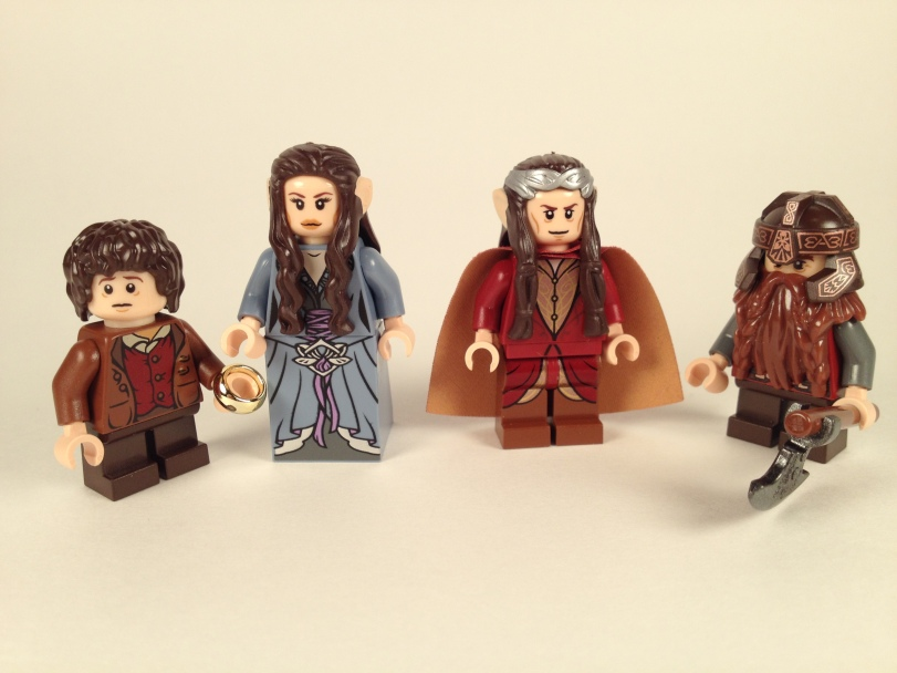 Frodo, Arwen, Elrond, and Gimli
